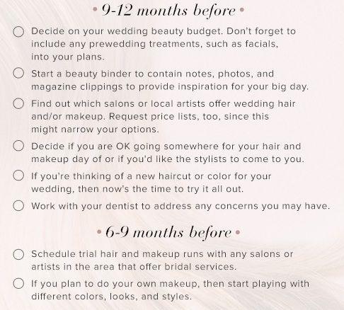 lista de verificação do casamento da beleza