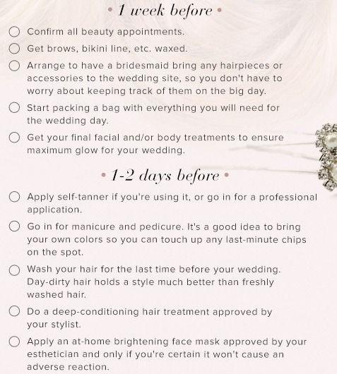 dias do casamento beleza lista de verificação antes