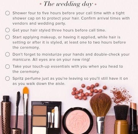 Weddingday lista de verificação de beleza