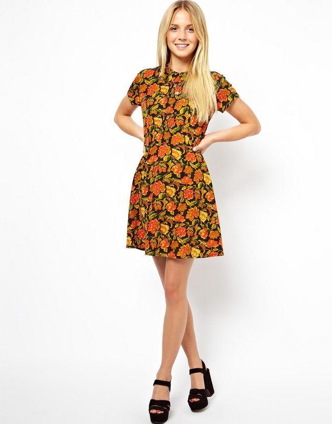 Bonito do vestido casual dia: vestido floral skater com gola e pintucks