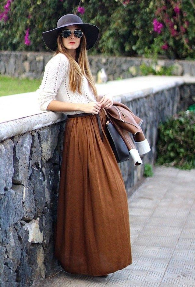 Consideravelmente saias longas para um olhar feminino na primavera