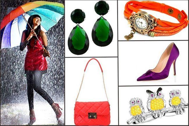 Acessórios do arco-íris para monções - rain moda