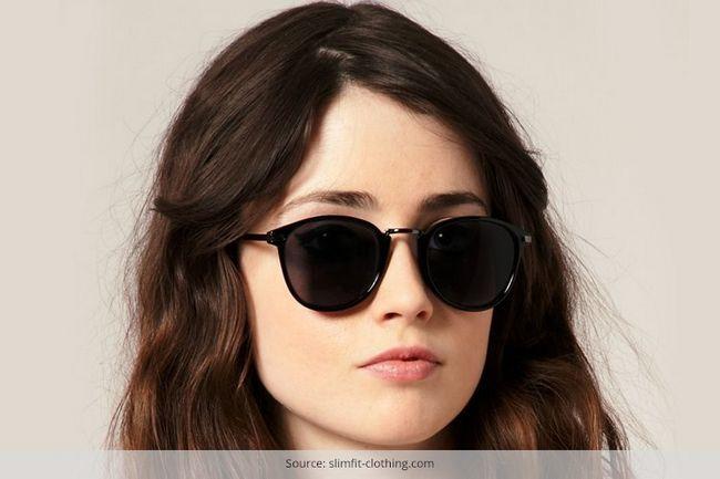 Óculos de sol retros para rosto redondo