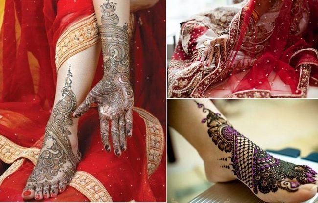 Mehndi em desenhos indianos do casamento