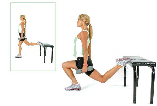 One-legged agachamento banco - Mulheres`s Health & Fitness