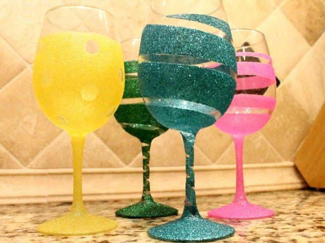 Colorful Glitter Wine Glasses
