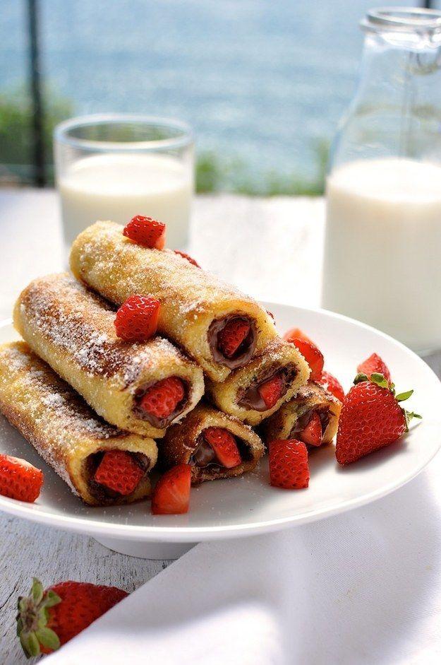 Morango Nutella rabanada Rolo Ups