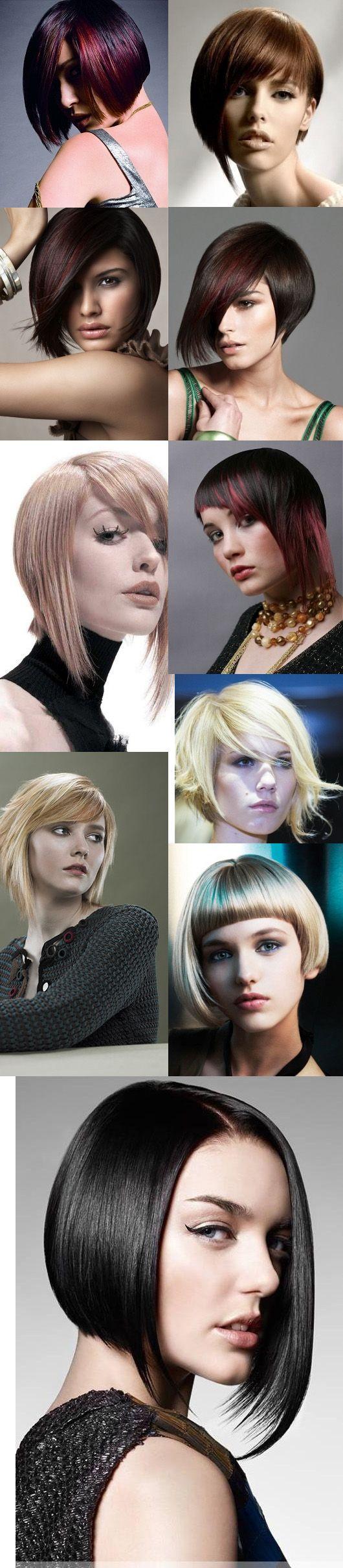 Deslumbrantes penteados bob assimétricas para rostos longos e ovais