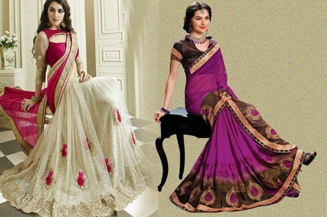 Styling e de bordados elegante sarees para as festividades à frente
