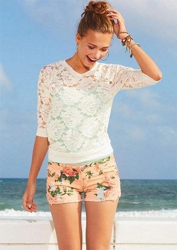Floral Shorts e tops Lace