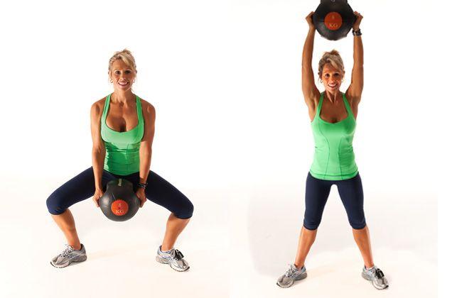 agachamento Sumo com medicine ball - Mulheres`s Health & Fitness