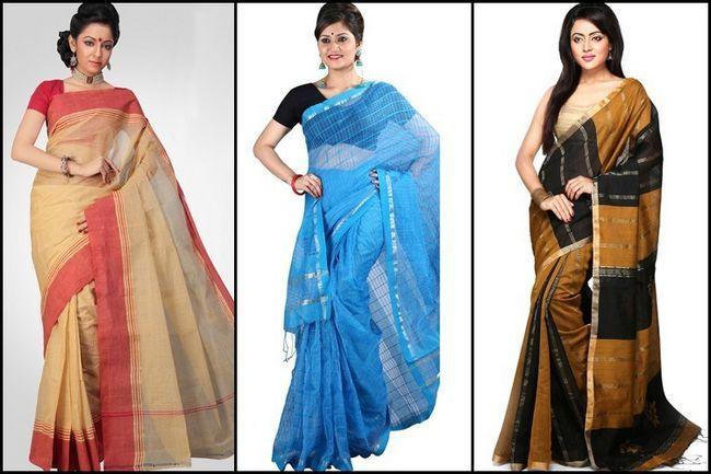Saree tant: vestindo a seis jarda de comprimento fatia de bengal