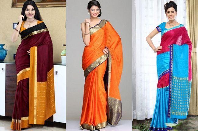 O efeito cintilante de mysore sarees de seda