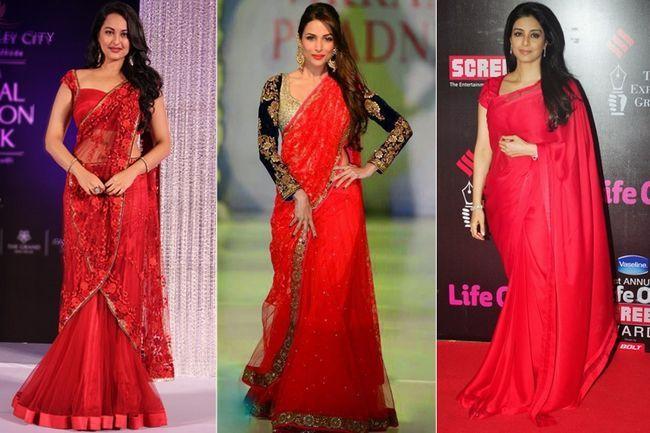 Essas atrizes de bollywood em saree vermelho são pura festa para os olhos