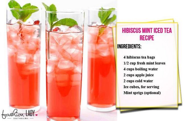 Receita Hibiscus Mint Iced Tea