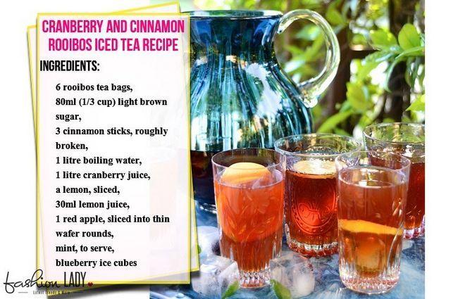 Cranberry e canela Rooibos Receita Iced Tea
