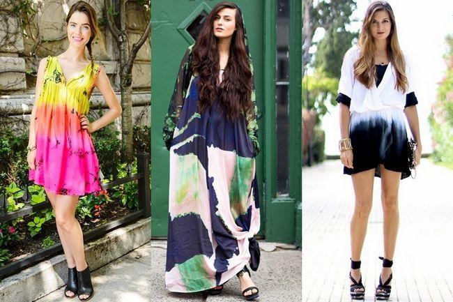 Amarrar e tingir de moda para alarde de maneiras diferentes