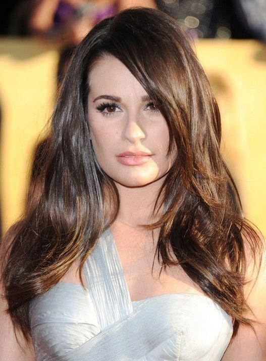 Lea Michele Penteados: Brunette Haircut Hetero