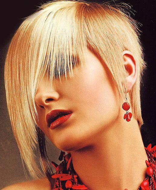 Curto Liso corte de cabelo Wispy Bangs