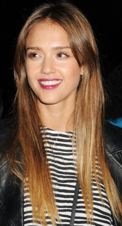 Jessica Alba penteados: Corte de cabelo em linha reta doce para o rosto redondo