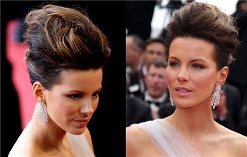 Kate Beckinsale Penteados: Messy Updo