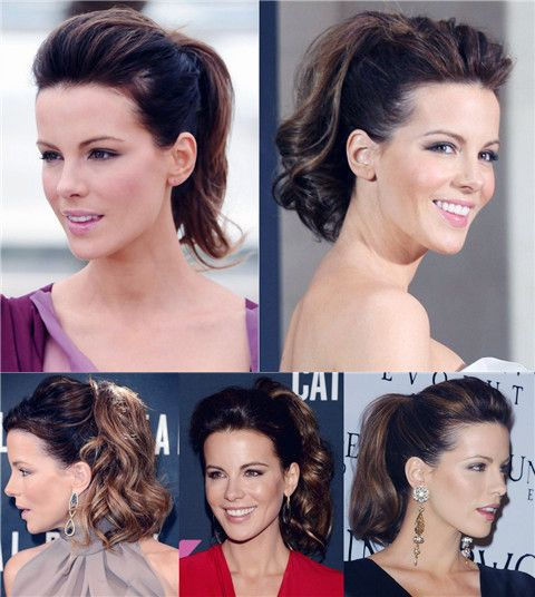Kate Beckinsale Penteados: Ponytails Voguish