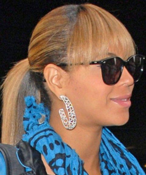 Beyonce penteados: rabo de cavalo bonito com Bangs