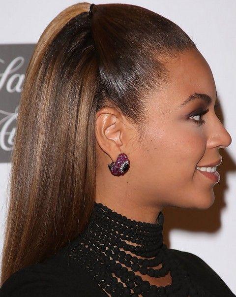 Beyonce penteados: de alta moda Meio-up penteado Half-baixo para raparigas