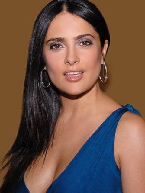 Salma Hayek Penteados: Corte de cabelo em linha reta varreu-Side