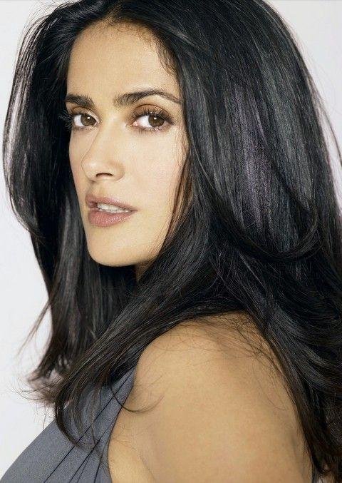 Salma Hayek Penteados: Fluffy Straigh corte de cabelo