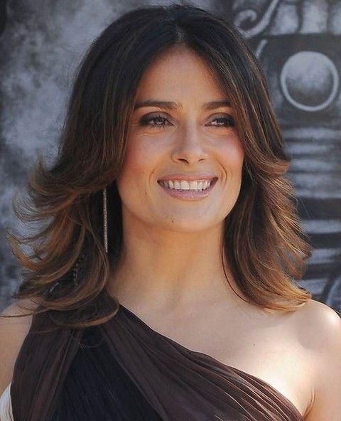 Salma Hayek Penteados: Corte de cabelo em linha reta Fabulous