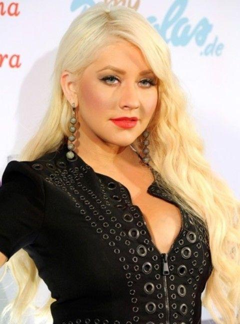 Christina Aguilera Penteados: Ondas muito longo