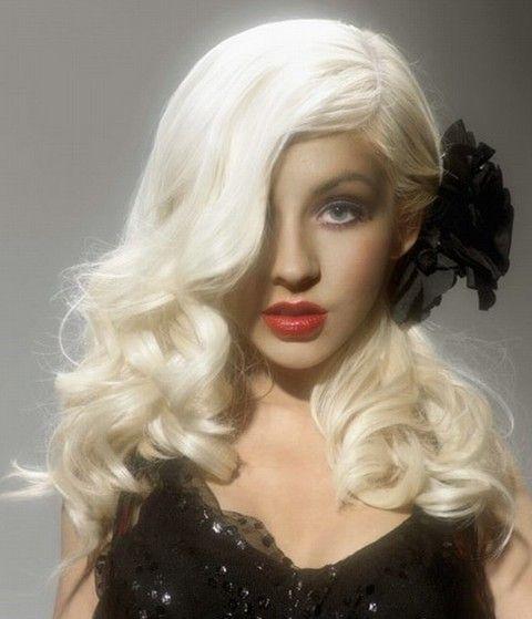 Christina Aguilera Penteados: Ondas adoráveis separaram-Side