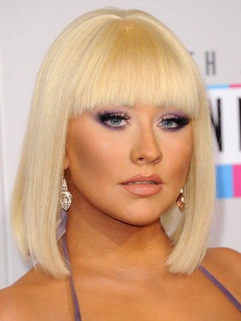 Christina Aguilera Penteados: 2014 Adorável Mid-comprimento Bob