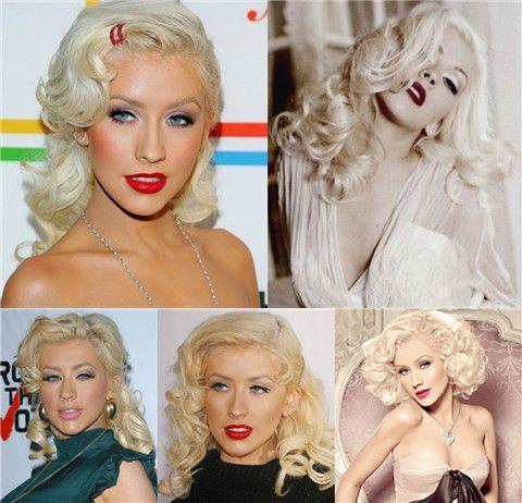 Christina Aguilera Penteados: Voguish retro penteados