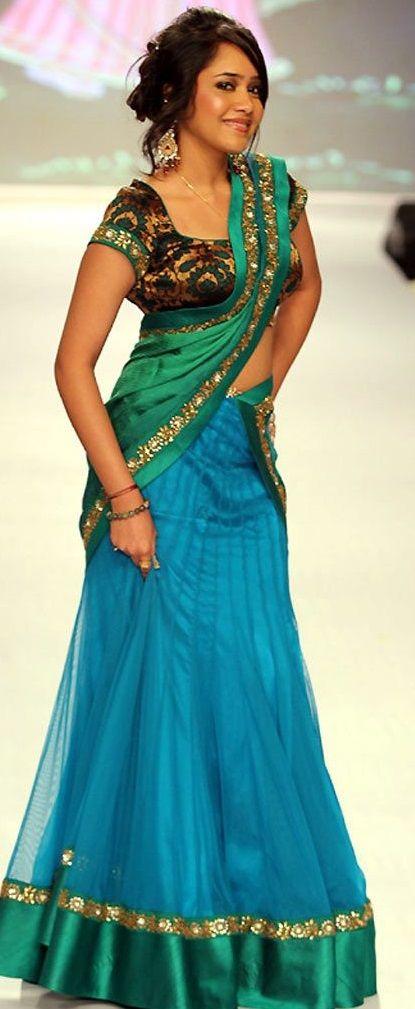 projeto blusa mais recente para metade sari # 3