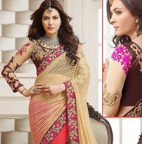 projeto blusa mais recente para metade sari # 6