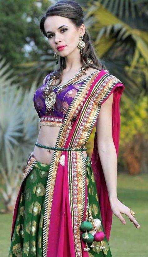 projeto blusa mais recente para metade sari # 10