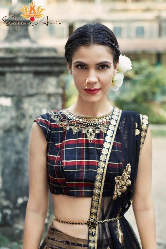 quadrado estilo blusa lehenga choli
