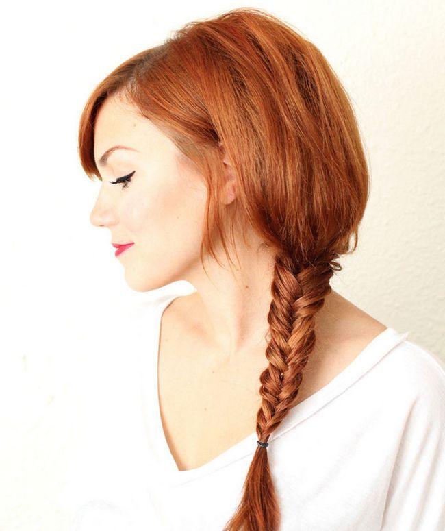 Fishtail Braid para o cabelo vermelho