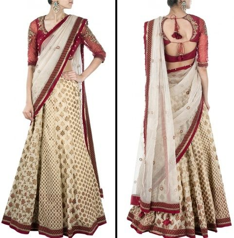 saree estilo Lehenga para o casamento
