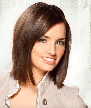 Corte de cabelo em linha reta separaram-Side com Termina Mesmo
