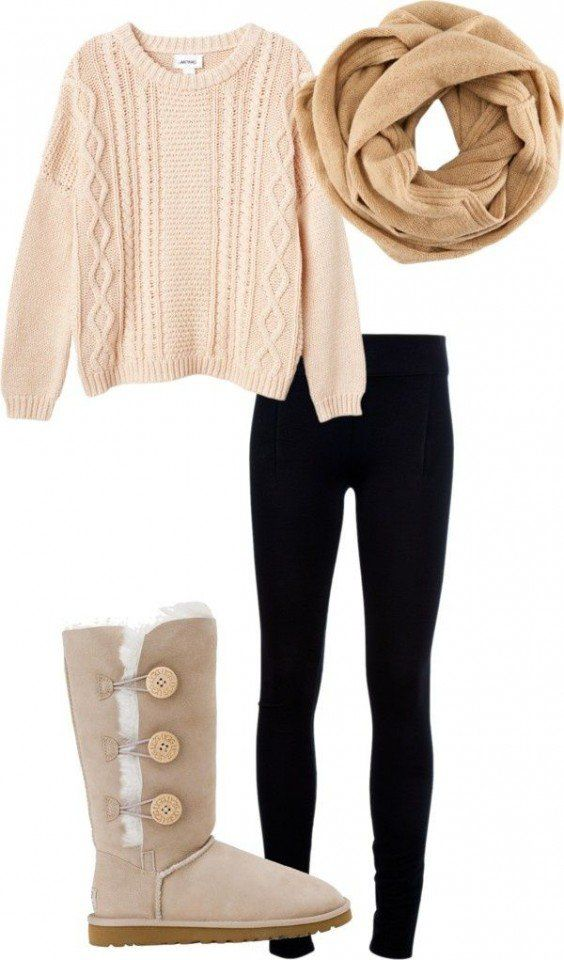 Leggings e botas Outfit
