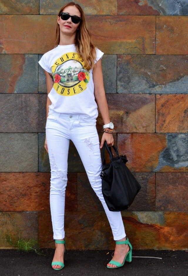 Idea roupa casual com branco Jeans