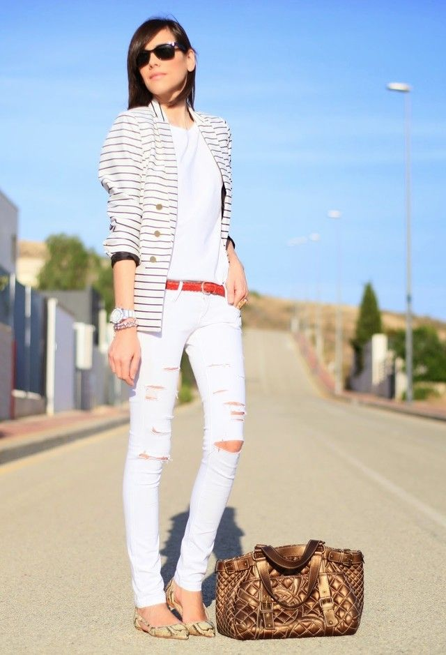 Na moda Jeans Branco rasgado Outfit Idea