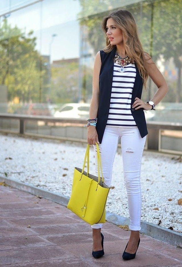 Moda brancos Jeans Outfit Idea