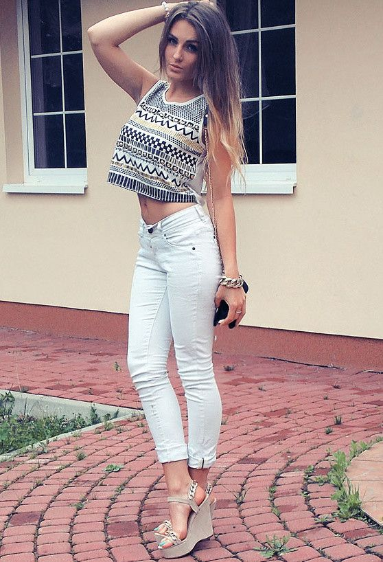 Idea Chic Outfit com branco Jeans