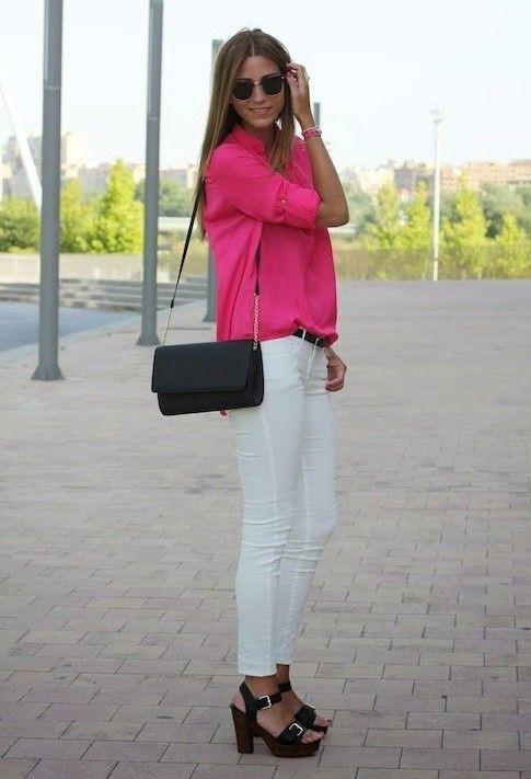 Feminina blusa branca e Jeans Outfit Idea