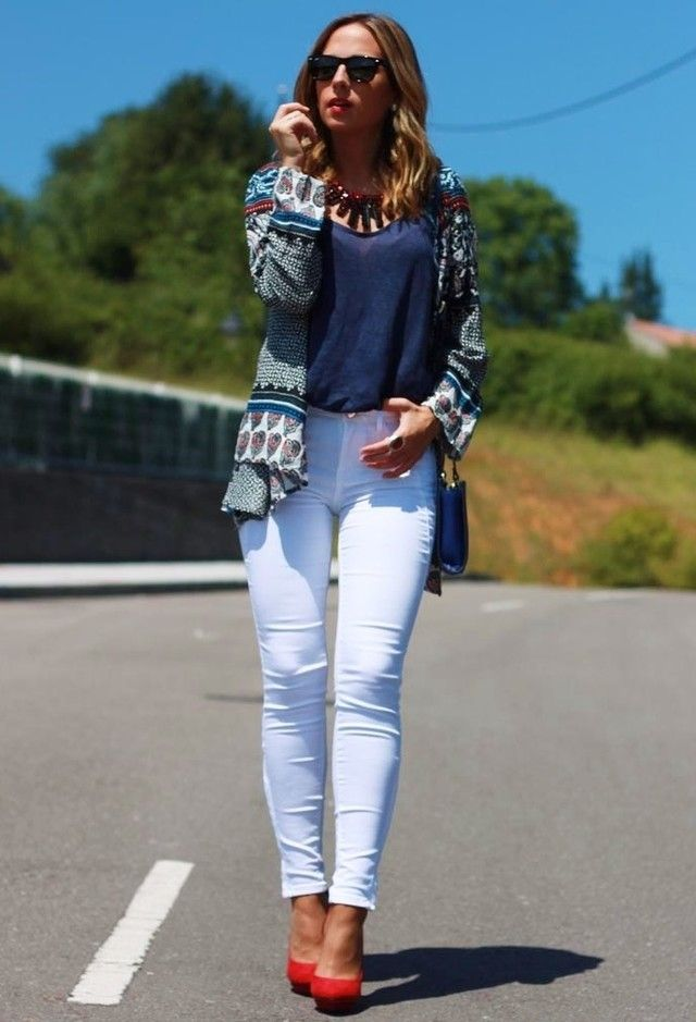 Idea Outfit fantástica com branco Jeans