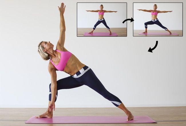 Triangle Pose da ioga / Trikonasana - Mulheres`s Health & Fitness